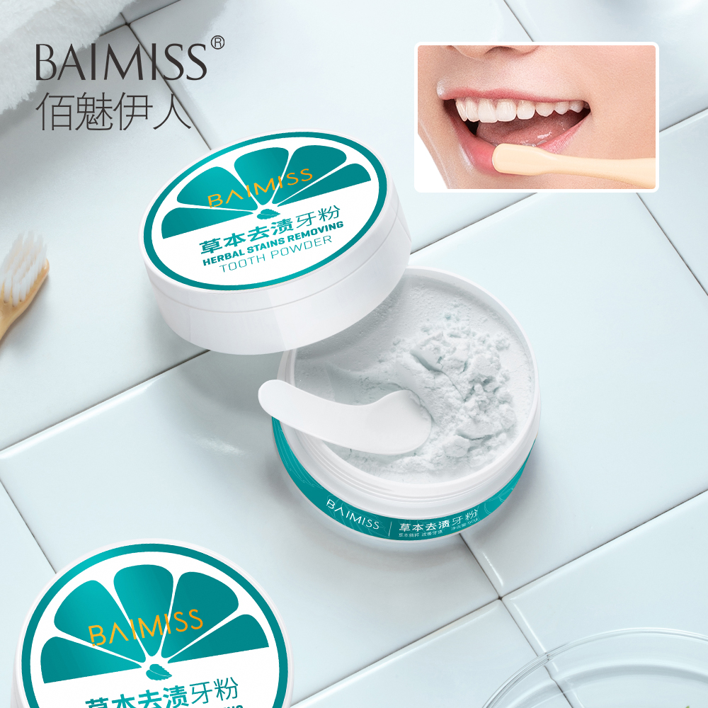 BAIMISS Teeth Whitening Powder 50g Herbal Safe White Tooth Perfect Smile Oral Hygiene Dental Brighten Tool Tartar Stains Remover