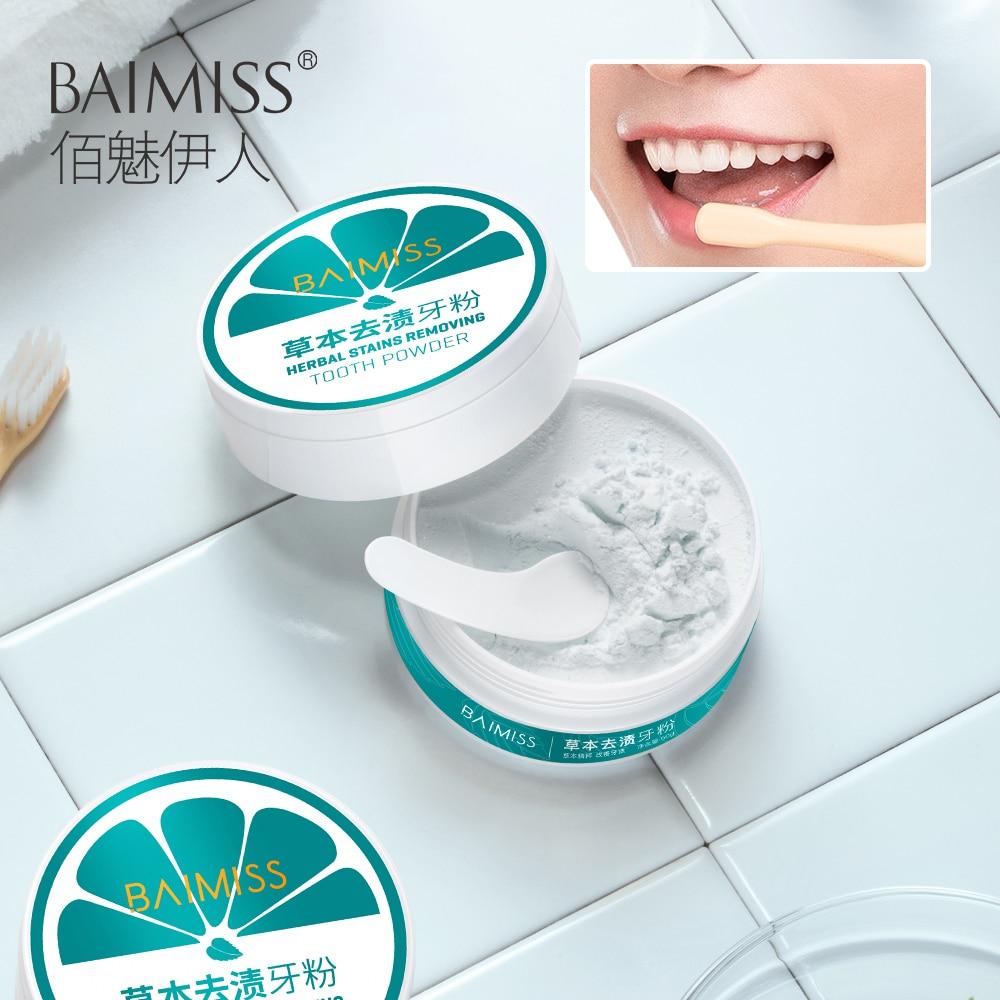 BAIMISS Teeth Whitening Powder 50g Herbal Safe White Tooth Perfect Smile Oral Hygiene Dental Brighten Tool Tartar Stains Remover