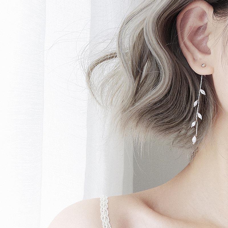 Leaf Drop Earrings NEW Silver Plated