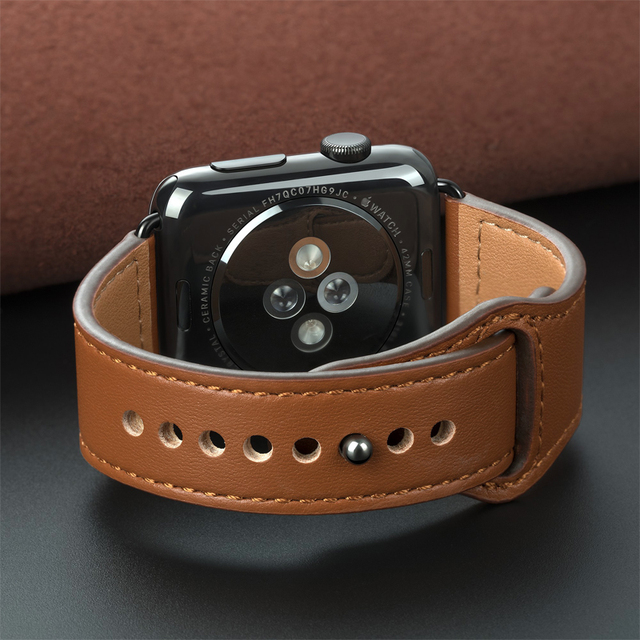 Genuine leather loop strap for apple watch band 42mm 44mm apple watch 4 5 38mm 40mm iwatch 3/2/1 correa replacement bracelet 2