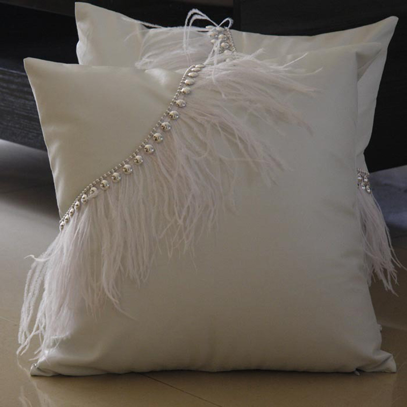 #686 Luxury soft cushion   luxury feather& PU Dec home room bed white color without filling  wholesale 45cm/18