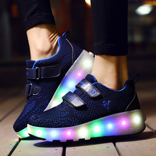 Children Glowing Sneakers Kids Roller Skate Shoes Led Light up Girls Boys with Wheels