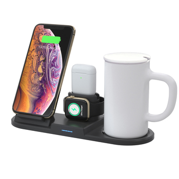 New 4 in 1 Qi Wireless Charger with Intelligent Thermostat Cup Wireless Charging Stand for iPhone Apple watch Airpods Charger