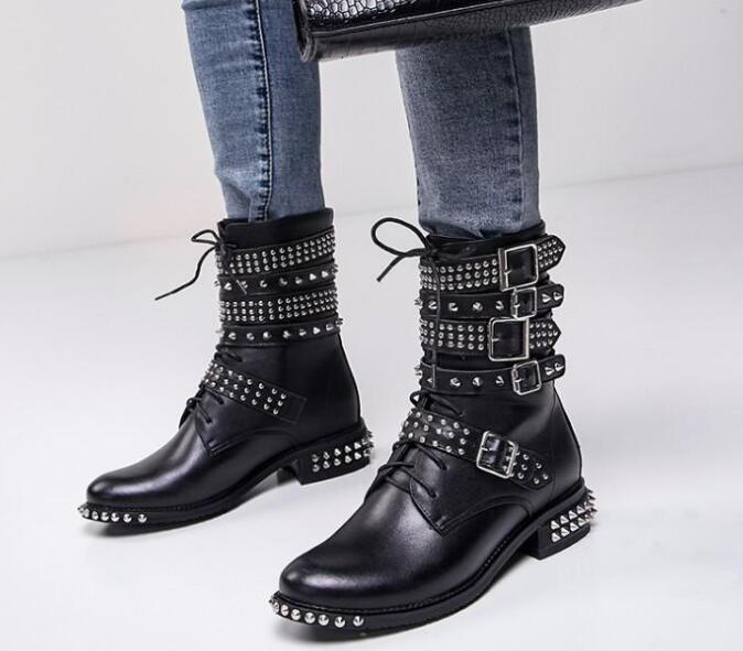 Botas de cuero tachonadas con remaches para motocicleta con hebilla de punta redonda para mujer botas al tobillo estilo punk botas de montar - 3
