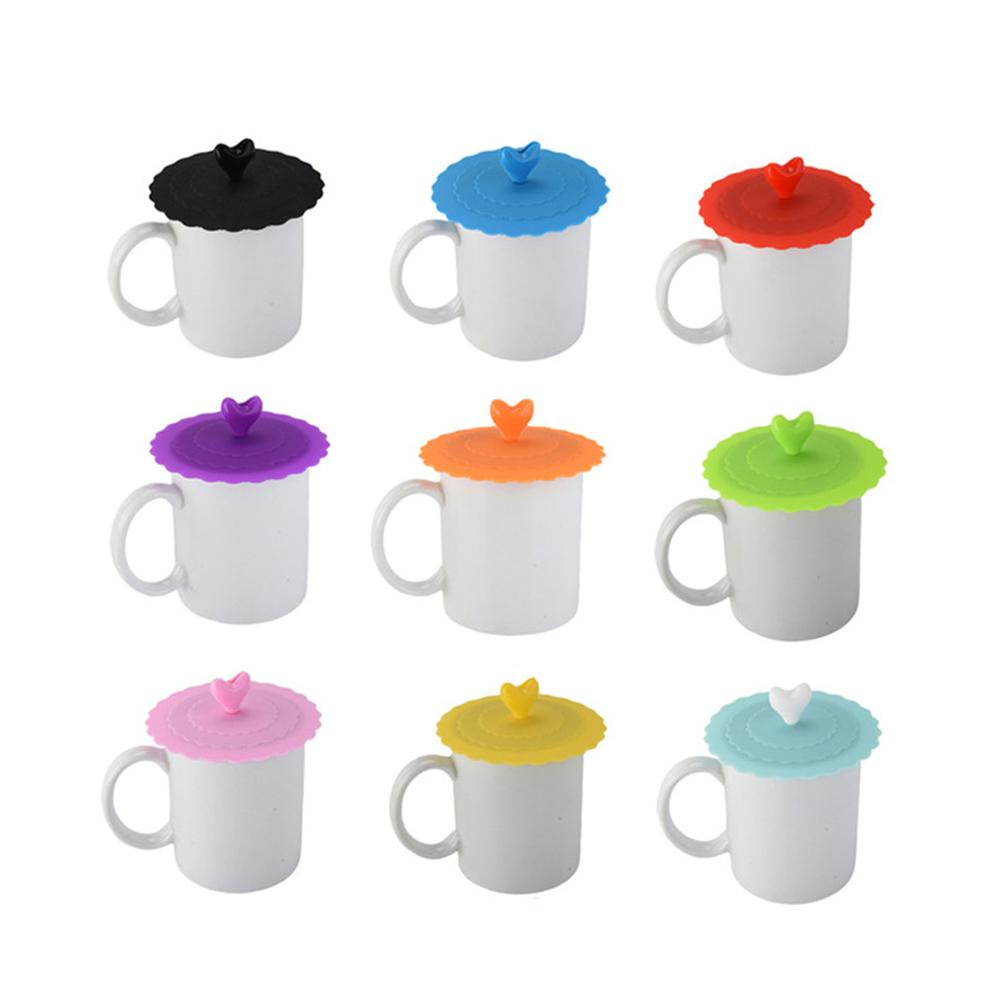 Cute Love Heart-shaped Adorn Drinking Cup Lid FDA Silicone With Spoon Holder Anti-dust Bowl Cover Cup Seals For Glass Mugs