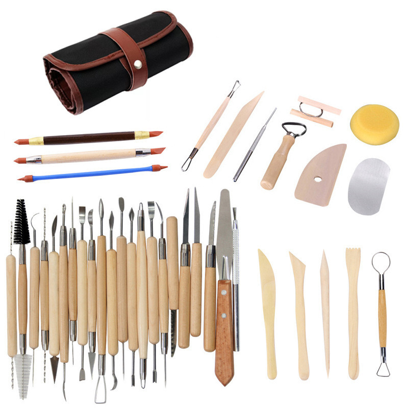 ceramic tools kit pottery polymer clay Smoothing Wax Carving Sculpture Sculpting Trimming Modelling Tool 38pcs/set