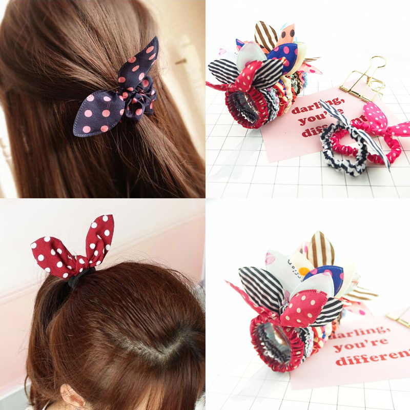 25PCS/Lot Mix Styles Fashion Rubber Bands  Headbands Rabbit Ears Elastic Ponytail Holder Hair Accessories Scrunchie Hair Ties