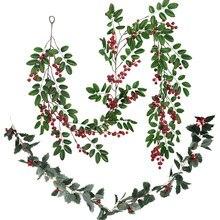 Kerst Rode Berry Krans Kerstversiering Voor Thuis Kunstmatige Plant Vine Voor Kerst Krans Decor Xmas Ambachten Navidad