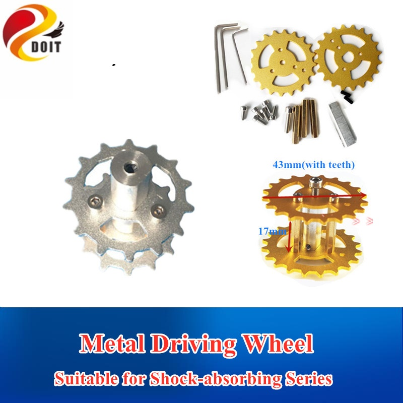 DOIT New Design TWS-03 Aluminum Alloy Metal Damping Driving Wheel For Toy Tank Track Caterpillar Car Chassis