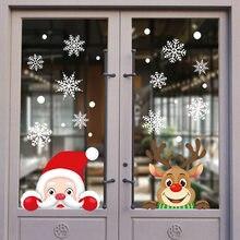 Noël père noël fenêtre autocollants ornements muraux noël pendentif joyeux noël pour la décoration de la maison bonne année 2021 Noel