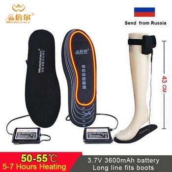 Зимние электрические стельки с подогревом батареи и одиночной линией для ботинок, перезаряжаемые стельки для обуви, стельки с подогревом для катания на лыжах и дистанционным управлением