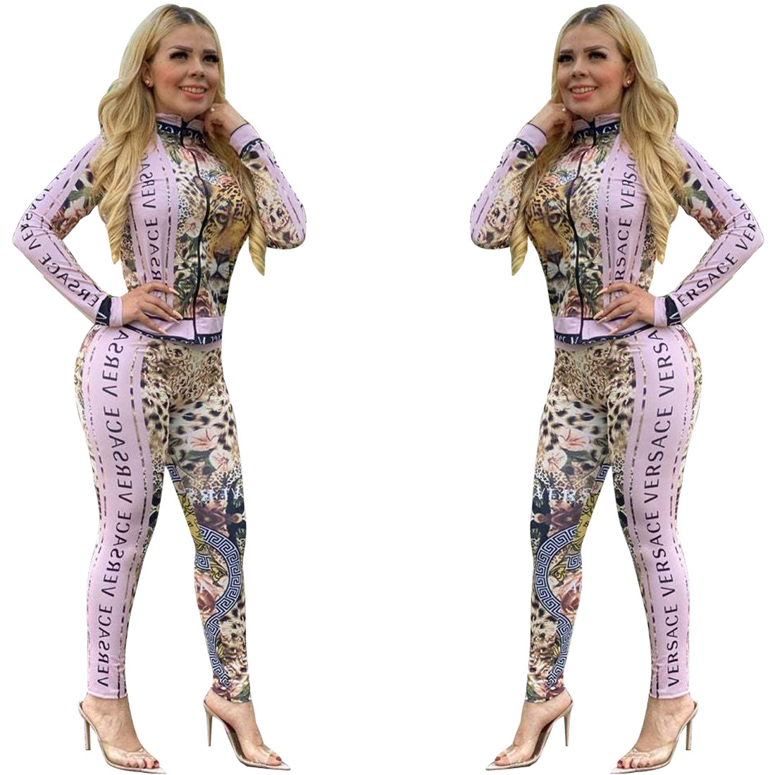 European And American African National Style Autumn And Winter Women's Wear Hot Fashion And Sexy Character Leopard Print Suit Sp