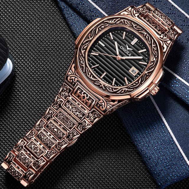 ONOLA brand Vintage golden watch male 2019 fashion cusual quartz wrist watch day date gold luxury classic designer man watch