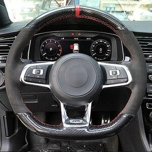 Carbon Black Suede Auto Stuurhoes Voor Volkswagen Golf 7 Gti Golf R MK7 Polo Scirocco 2015 2016