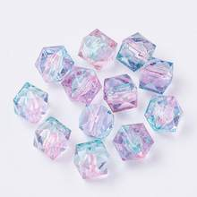 500g Transparent Acrylic Crystal Beads Polygon Two Tone Loose Spacer Beads for DIY Jewelry Making Findings, 7.5x8x8mm, Hole: 1mm