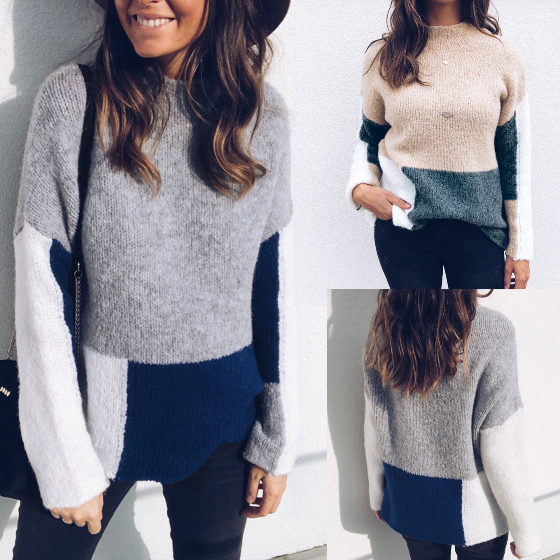 Autumn Fashion Sweater 2019 Women Leisure Solid Color Long-Sleeved Sweater 2 Color Size S-XL
