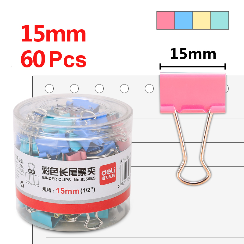 Deli 60pcs 15mm Color Binder Paper Clip Ticket Holder 6# Metal Swallowtail Photo Clips Stationery Items Office Supplies 8556ES