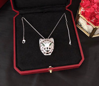 Hot brand party jewelry for women panther necklace cz green eyes tiger leopard necklace famous brand luxury jewelry women gift