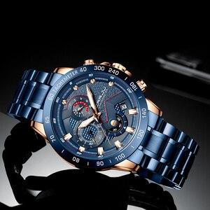 Image 4 - Mens שעון יוקרה למעלה מותג CRRJU שעון אופנה ספורט עמיד למים הכרונוגרף גברים של Satianless פלדת שעוני יד Relogio Masculino