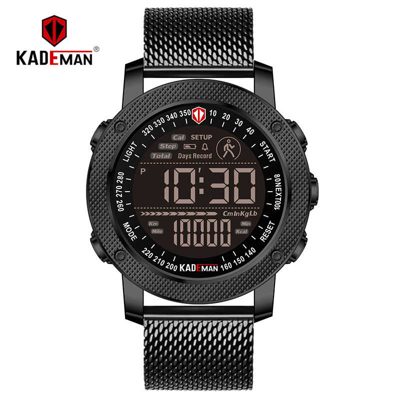 KADEMAN Лидирующий бренд Мужские часы креативные счетчик шагов цифровые спортивные наручные часы водонепроницаемые военные армейские Модные мужские кожаные часы