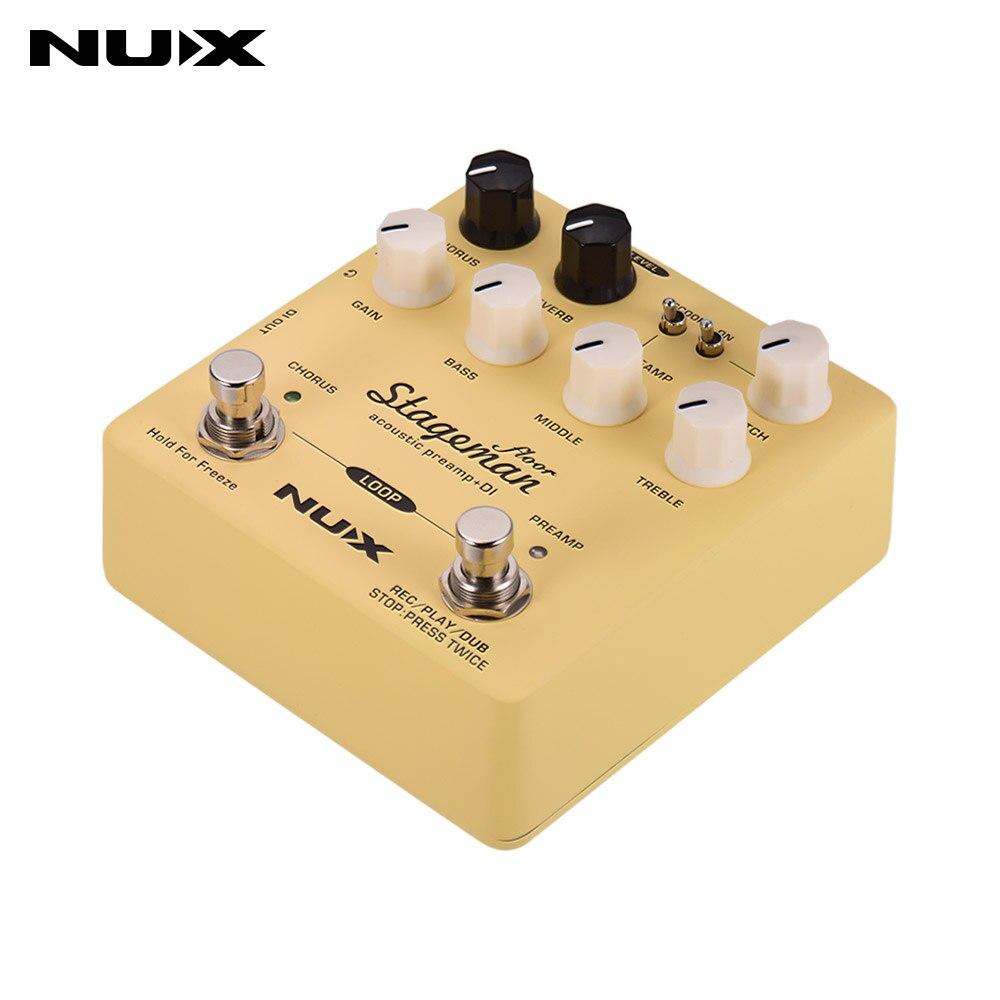 NUX Stageman étage préampli acoustique + pédale effet DI avec Chorus Reverb Freeze 60s boucle pour guitare acoustique violon mandoline Banjo