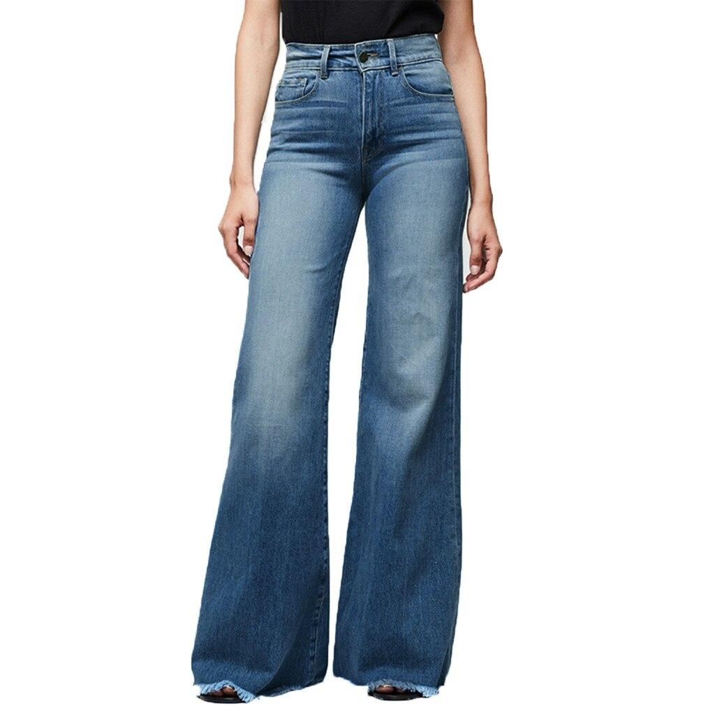 Jaycosin осенние модные женские повседневные свободные расклешенные джинсы, джинсовые обтягивающие Стрейчевые брюки с карманами, женские широкие винтажные джинсы 11 #4