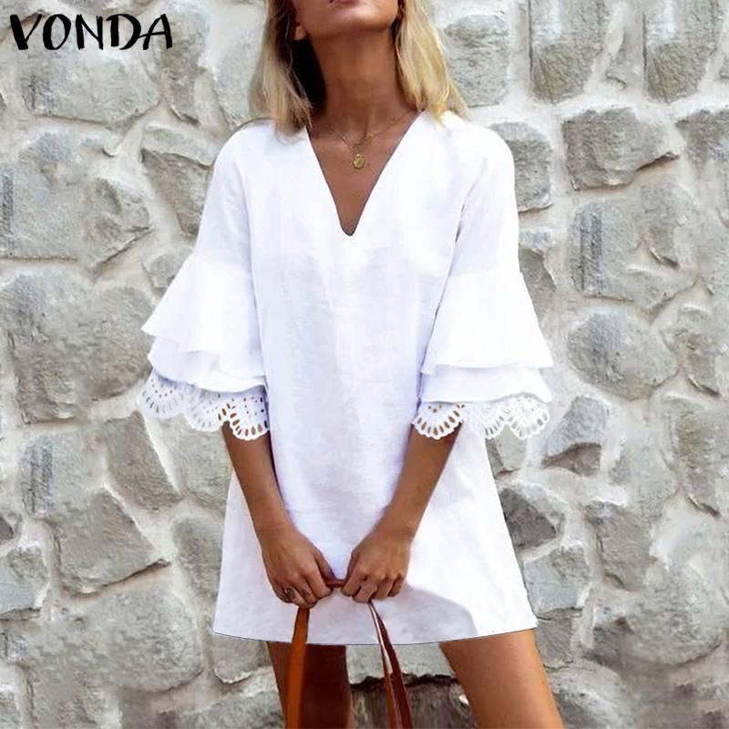 VONDA Fashion Womens Sexy Mini Dress Female Cotton V Neck Hollow Out Fare Sleeve  Mini Dresses Summer Fashion Sweet New Arrival