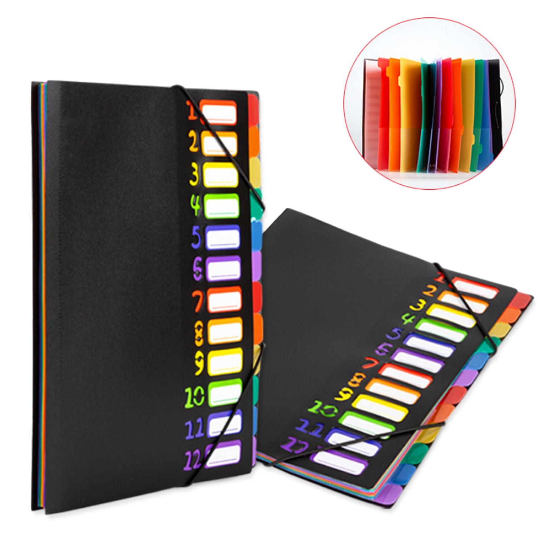 12 Pocket Expanding File Folders Document Paper Organizer Sorter For Office Clerks School Students A4 Letter Size