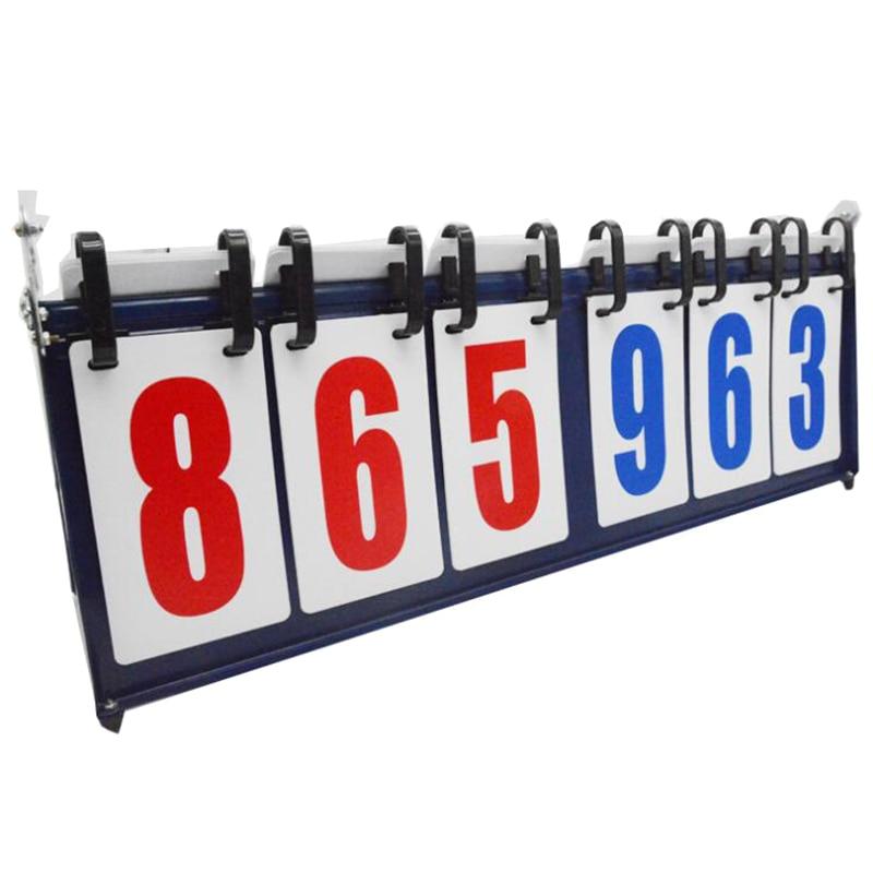 Basketball Scoreboard 6-Digit 999-999 Pages 1.5KG Metal Score Recorder Portable Scorer