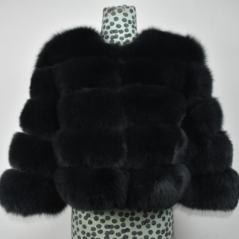 2019New Women Warm Real Fox Fur Coat Short Slim Winter Genuine Fur Jacket Fashion Luxury Natural Fox Fur Coat For Girls
