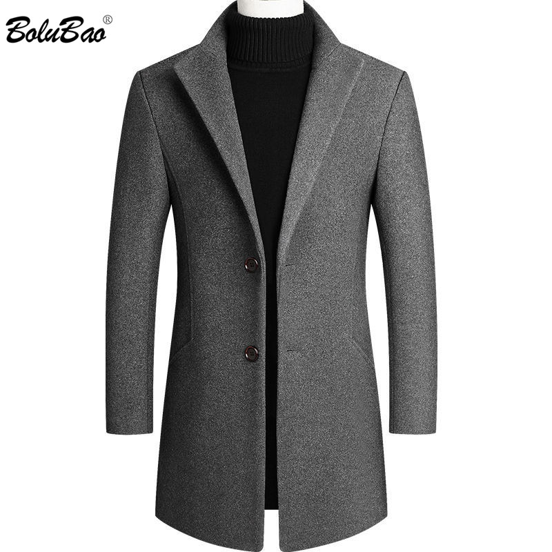 BOLUBAO Brand Men Wool Blends Coats Quality Men's Solid Color Wool Blends Coat Winter New Slim Fit Wool Jacket Male Clothing