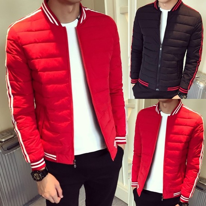 ZOGAA Winter Men's Jackets Thin Casual Parka Men Warm Windbreaker Cotton Stand Collar White Stripe Patchwork Coat Puffer Jackets