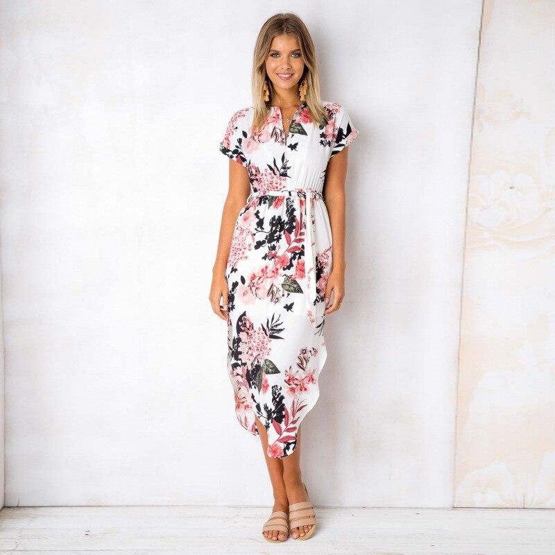 2020 Summer Dress Women Midi Party Dresses Geometric Print Summer Boho Beach Dress Loose Batwing Sleeve Dress Vestidos Plus Size