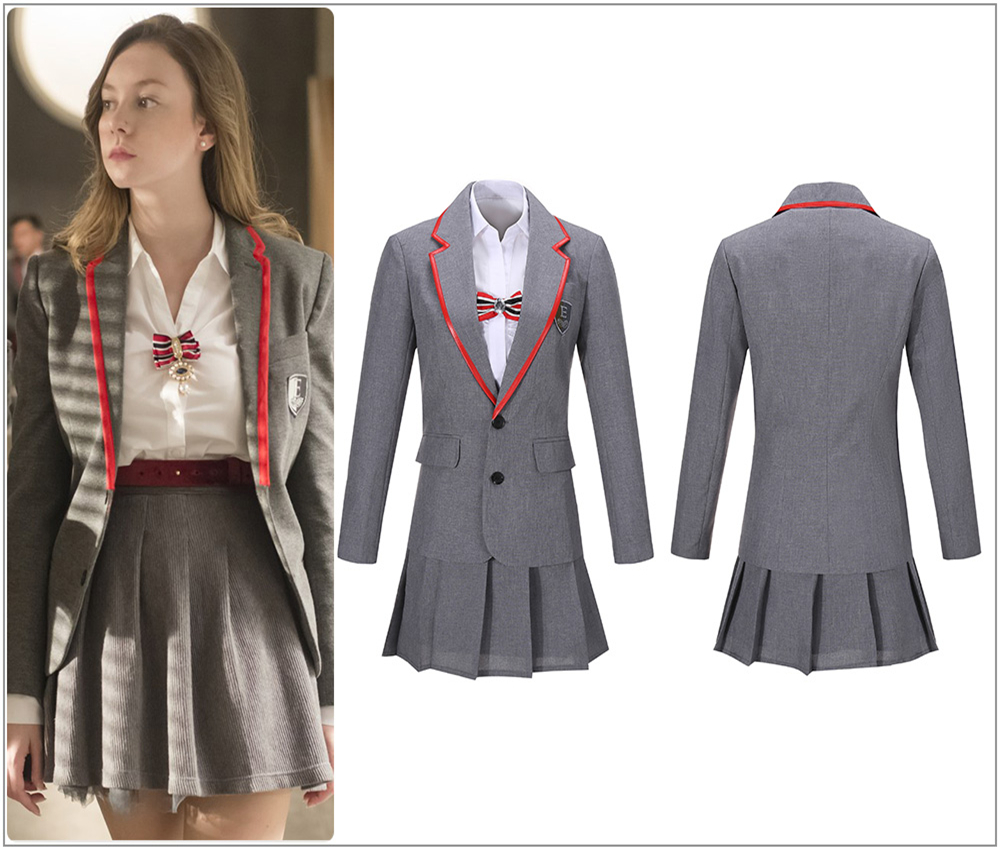 TV Series Elite School Uniform Gray Female Cosplay Costume Custom Adult Women Shirt Girl Pleated Skirt School Uniform Bow Belt