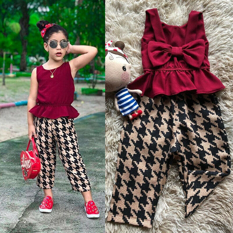 Emmababy Baby Girls Clothes Sets Bowknot Sleeveless Backless Fashion Ruffles Vest+Plaid Pants Outfits Summer