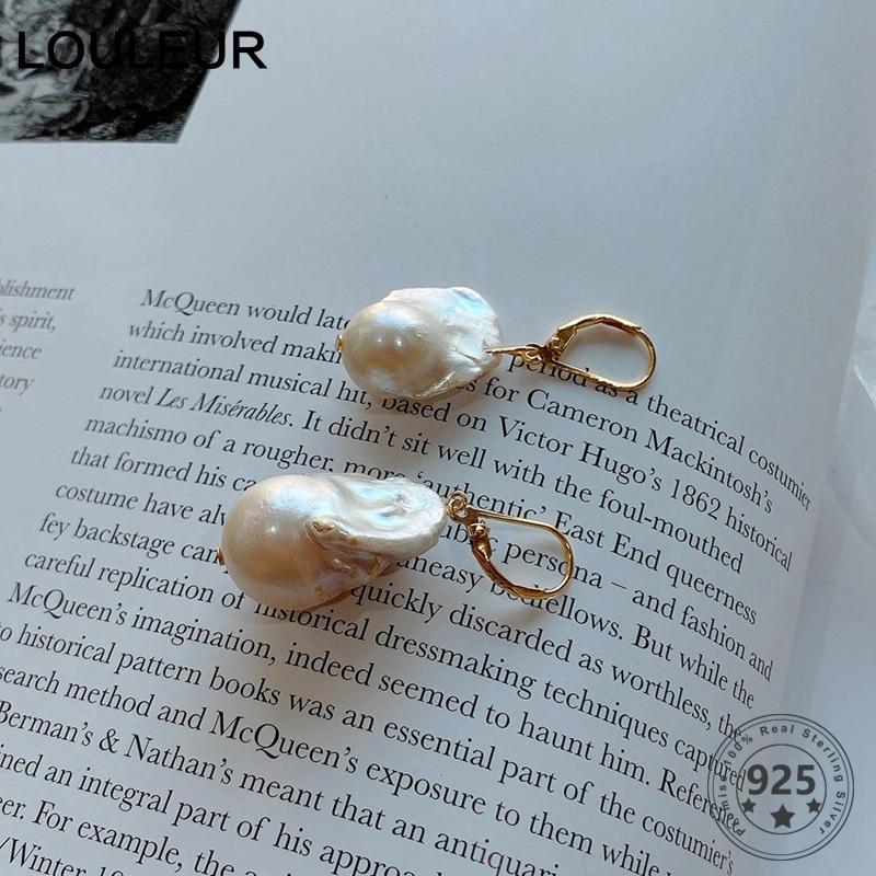 LouLeur Irregular Baroque Pearl Drop Earrings For Women 925 Sterling Silver Nordic Style Earrings Female Eleagnt Luxury Jewelry
