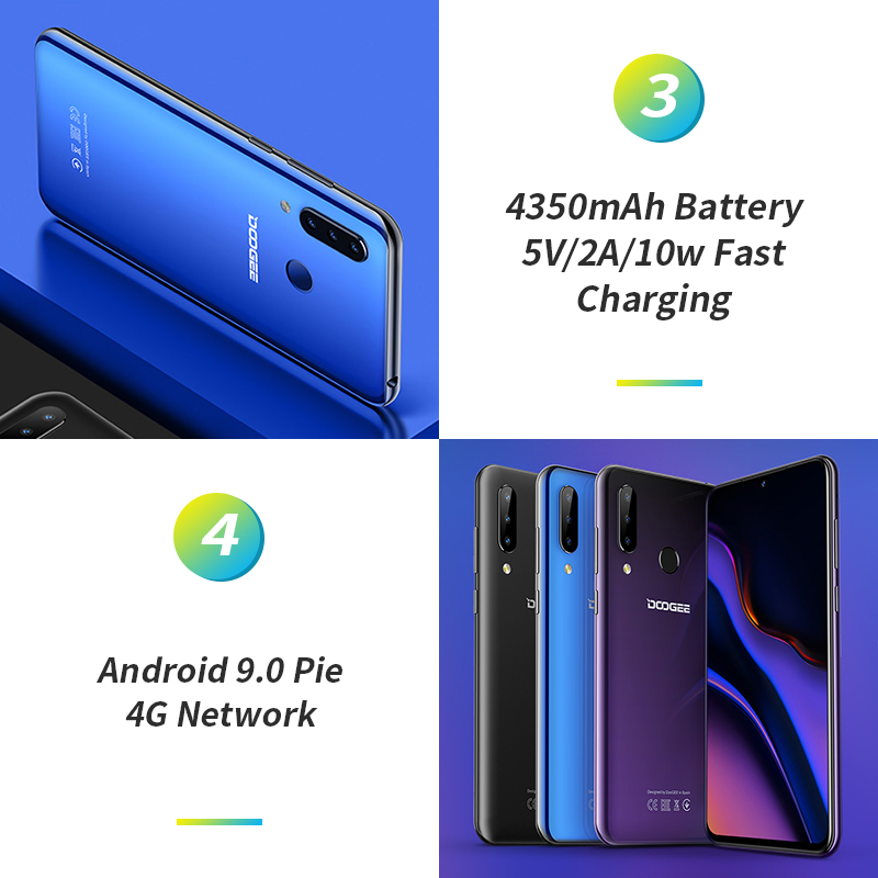 Doogee N20 4G Smartphone 6,3 Pantalla de gota de agua teléfono móvil 4GB + 64GB Octa Core 16MP Triple cámaras traseras 4350mAh 10w carga rápida - 4
