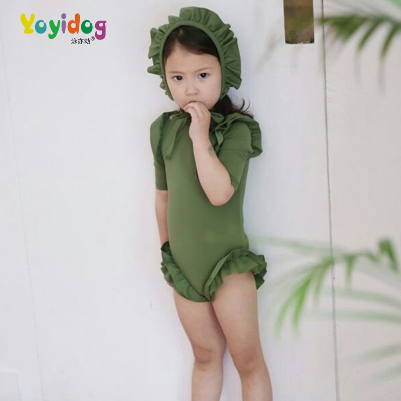 Korean-style New Style Conservative One-piece Swimsuit For Children Lace Swim Cap Two-Piece Set Long Sleeve Sun-resistant Bathin