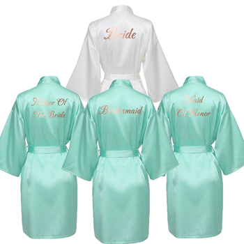 YUXINBRIDAL 2019 New Bridesmaid Robes  Bridal Mint Satin Robe Wedding Rose Gold Printing White