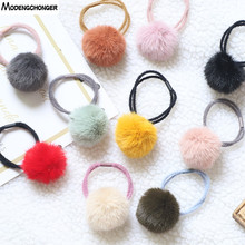 New Lovely Fashion Rabbit Fur Ball Elastic Hair Rope Ponytail Holder Girls Cute Pompom Hairband Rings Ties Accessories