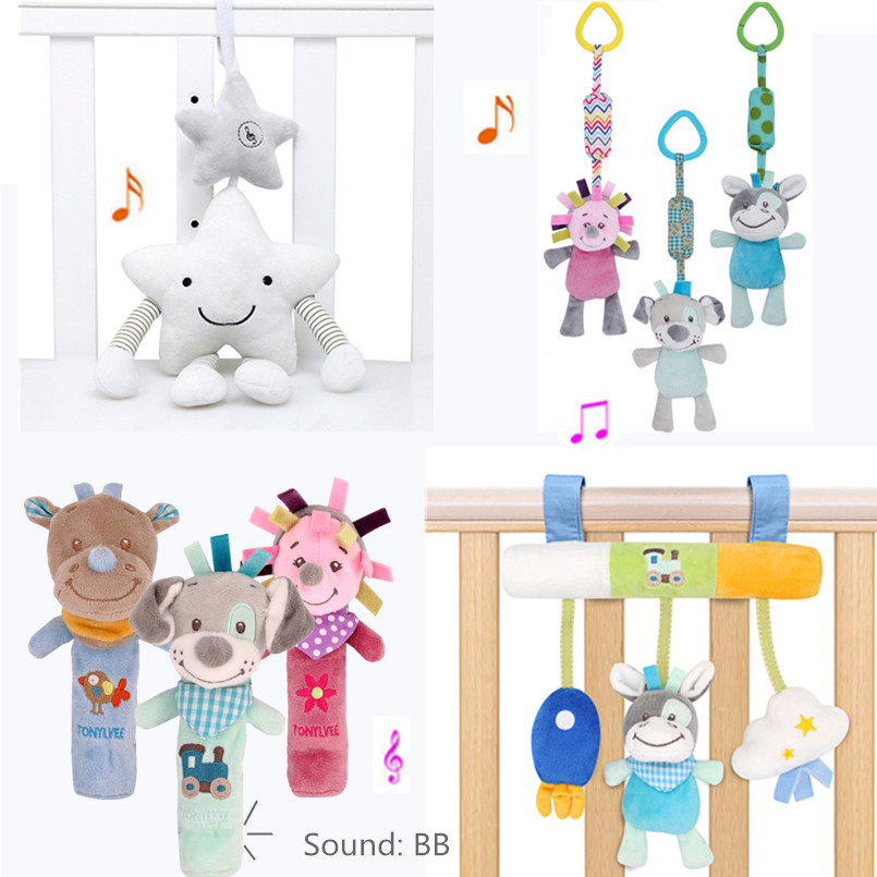 Newborn Baby Toys Music Crib Mobile Educational Toy For Babies 0-12 Months Children's Stroller Toy Bed Hanging Plush Baby Rattle