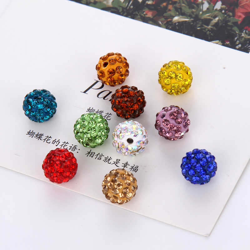 New 20Pcs 8/10mm Space Loose Beads Wholesale For DIY Bracelet Crystal Bead Disco Round Ball Charms Jewelry Making