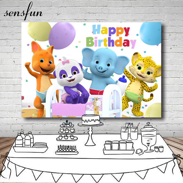 Sensfun Animals Word Party Children Birthday Party Backdrops Tiger Elephant Photography Background Photo Studio Vinyl Polyester