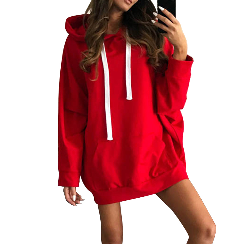 NORMOV Womens Red Hoodies Sweatshirts Ladies Autumn Solid Pullovers Long Sleeve Sexy Winter Fall Clothing Sweat Shirts Hoodies