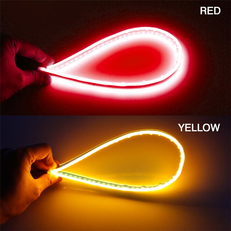 H94bf0996c89c44abb95d3da47fa566fcD OKEEN 2Pcs Slim Flexible DRL LED Knight Rider Strip Light For Headlight Sequential Flowing Amber Turn Signal Lights