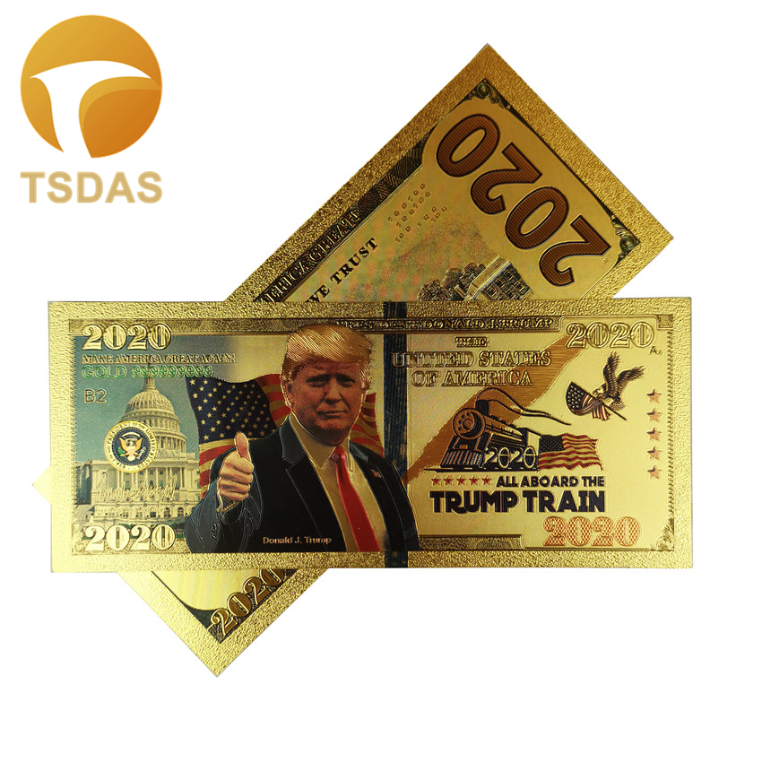 10pcs/lot President Donald <font><b>Trump</b></font> <font><b>2020</b></font> Colorized Dollar Bill Gold Foil Banknote Collections Banknotes Gift image