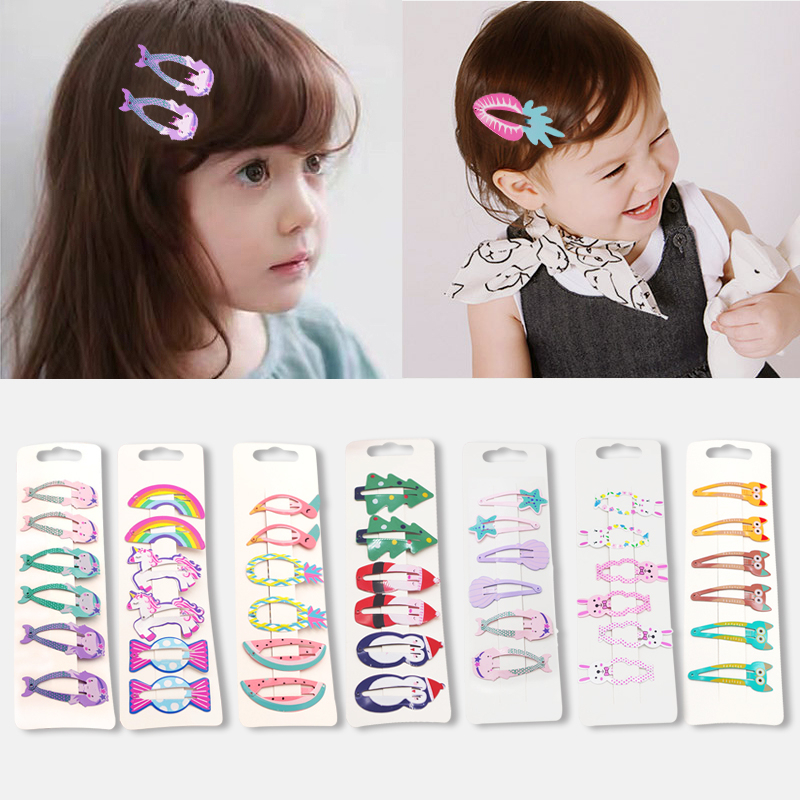6pcs Children Hair Accessories Mermaid Drawing Rainbow Unicorn Animal Hair Clips Flamingo Christmas Sugar Hairpins   Headwear