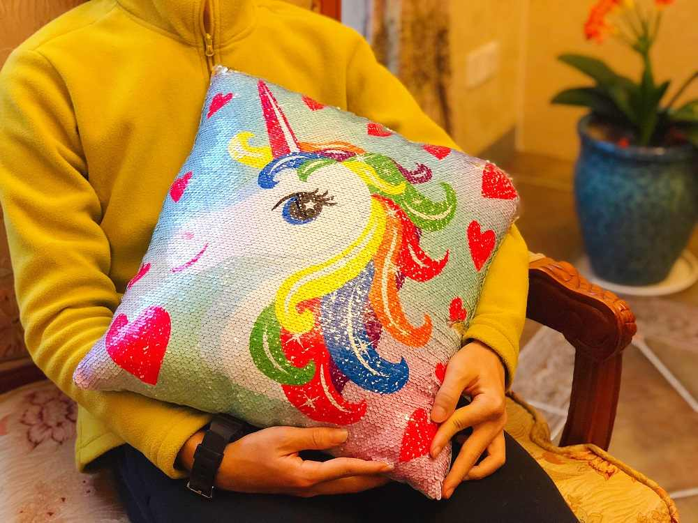 Çevirme pullu unicorn yastık (kapak) w/doldurma 30cm oyuncaklar yumuşak atmak unicorn Glitter doldurulmuş hayvanlar kanepe yastığı yaratıcı hediyeler