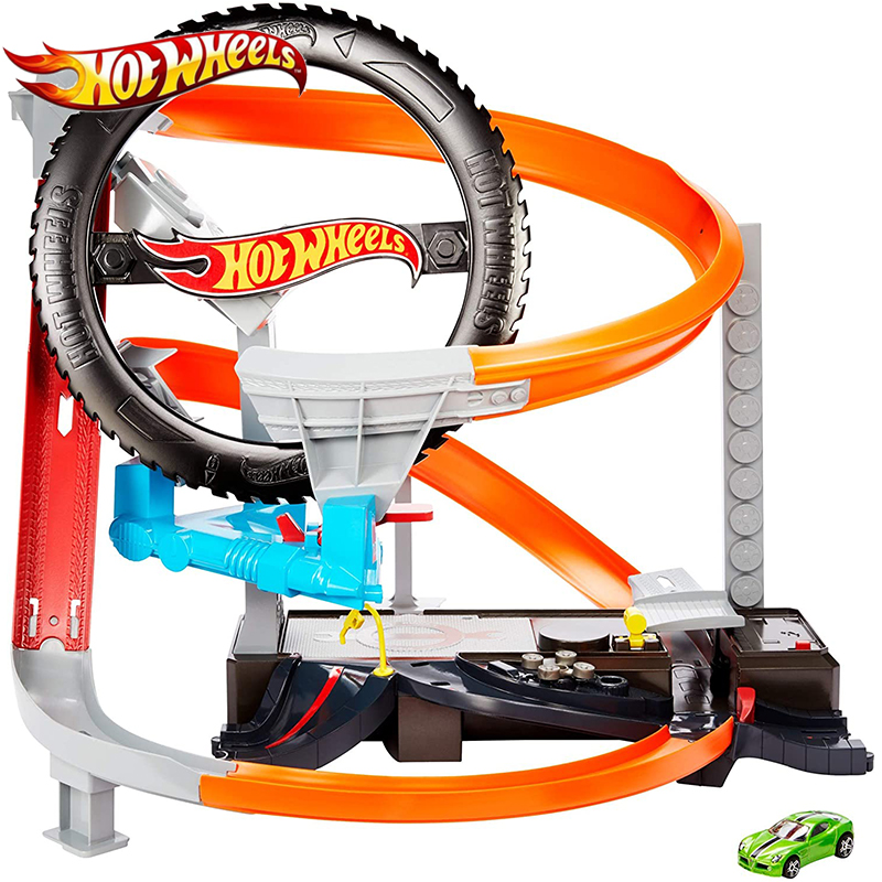 Hot Wheels City Hyper Boost Tire Shop Play Car Track Building Double Annular Racing Road Super Sport Monteracer GJL16 For Boy's