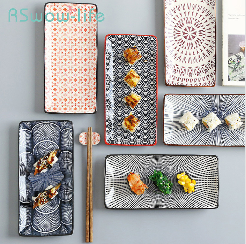 Japanese Style Sushi Plate Creative Underglaze Color Rectangular Ceramic Plate Home Western Dish Serving Dishes Dinner Plates